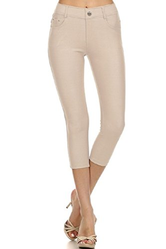 Women's Basic Solid Color Cotton Blend Capri Jeggings Camel Medium