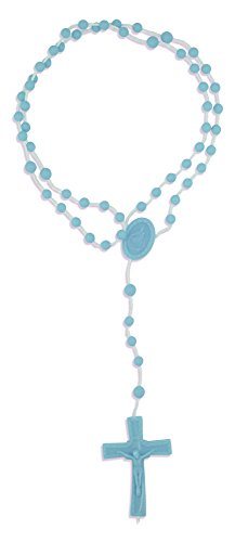 Vatican Imports Plastic Economy Rosary - Made in Italy (Blue)