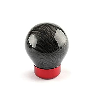 Top10 Racing Shift Knob Ball Gear Shifter Carbon Fiber Universal Fit for Manual/Automatic Cars with 4 Adapters Black Ball Red Base: Automotive