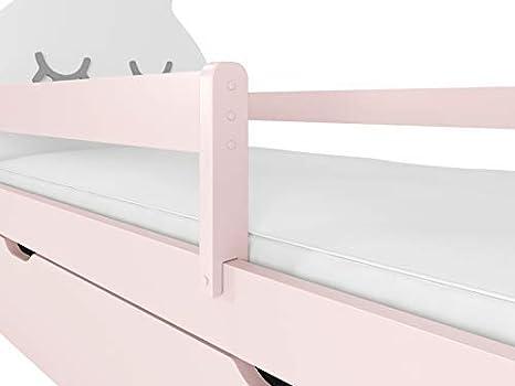 70x140, blanco chica chico cama funcional montessori liebre blanco marco de listones y cajones para ni/ños a partir de 2 a/ños NeedSleep cuna con colch/ón 70x140 70x160