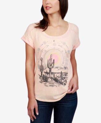 (Lucky Brand Womens Desert Dreamer Graphic Crewneck T-Shirt Pink XS)