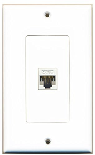 RiteAV - New Single Port Decorative Network Wall Plate - White (Tooless) F/F 1 Port Cat5e Surface Jack