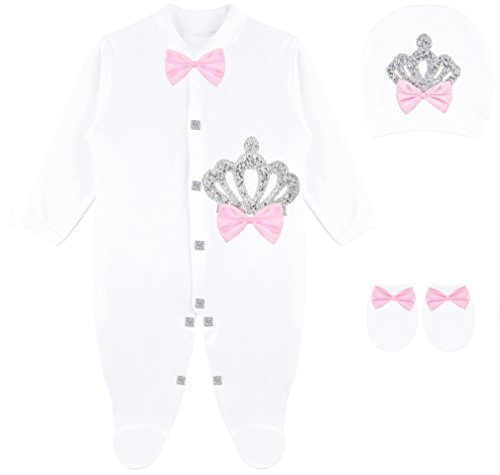 Lilax Baby Girl Newborn Crown Jewels Layette 3 Piece Gift Set 0-3 Months Sparkle ()