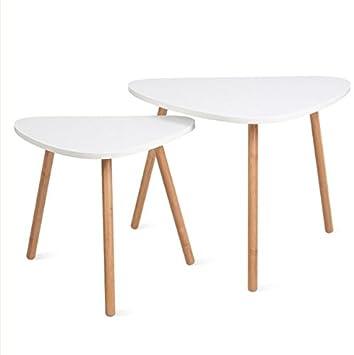 Homfa Tables Gigognes Scandinaves Lot De 2 Tables Basses Blanche De