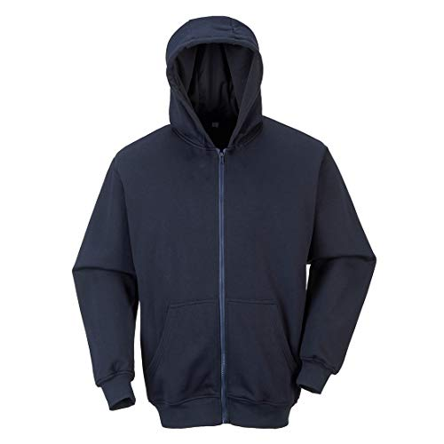 (Portwest FR Hooded Zip Sweatshirt Flame Ressistant Safety Protection Work Jumper ASTM ARC 2, XXL Navy)