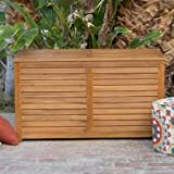Elegant 90 Gallon Finished Acacia Wood Slatted Euro-Finish Decco Design Storage Container Deck Box- Ventilated Slats Reduces Moisture Mildew Perfect For Towels Blankets Pool Toys More- Portable Strong