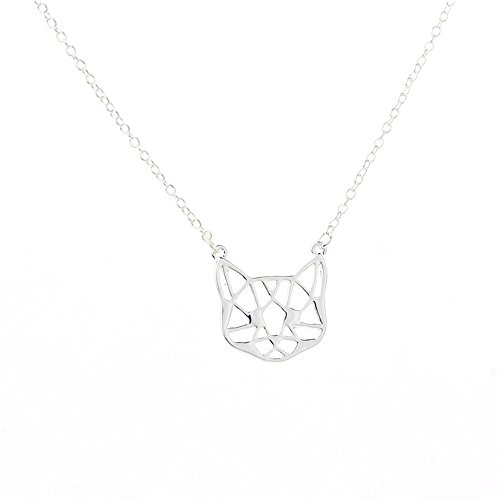 palettei Origami Cute Cat Head Pendant Necklace - Hollow Lovely Cat Face Animal Necklace For Women (silver)