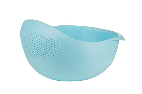 - Prep and Serve Multi-Function Bowl with Integrated Colander (Small, Blue)