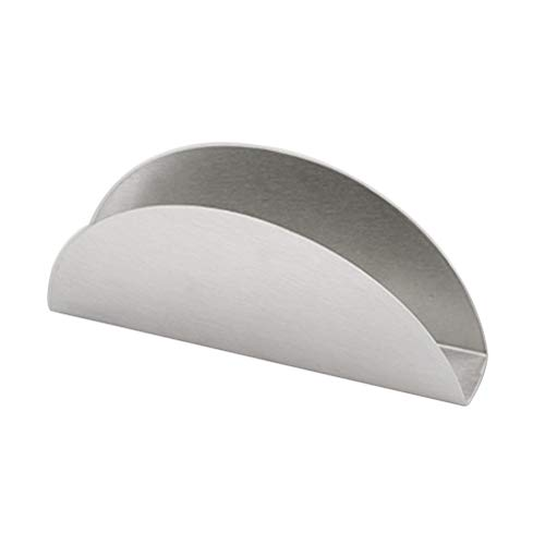BESTONZON 430 Stainless Steel Towel Rack Simple Vertical Fan Shape Tissue Holder Napkin Box Home Decoration Tool (Silver) ()