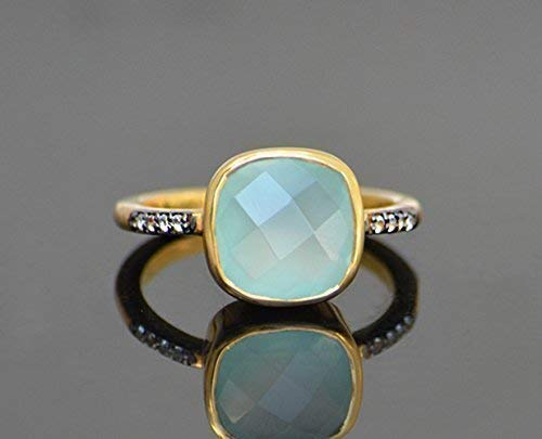 Aqua Chalcedony pave ring, white topaz paved ring, Vermeil Gold or silver, bezel set ring, cushion ring, aqua gemstone ring, March Birthstone ring, Seafoam chalcedony ring, square ring