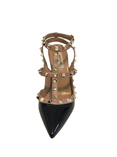 Kaitlyn sartén punta Toe Studded Slingback Tacón bombas de piel negro/piel/Dorados (black patent/Nude trim/Gold studs)