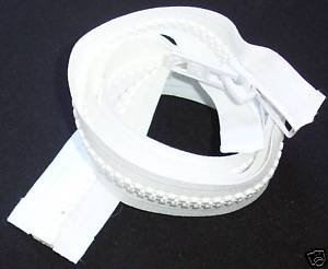 Bimini Top #10 White Marine Double Pull Zipper 48