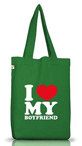 Shirtstreet24, I LOVE MY BOYFRIEND, Valentinstag Jutebeutel Stoff Tasche Earth Positive (ONE SIZE) Moss Green
