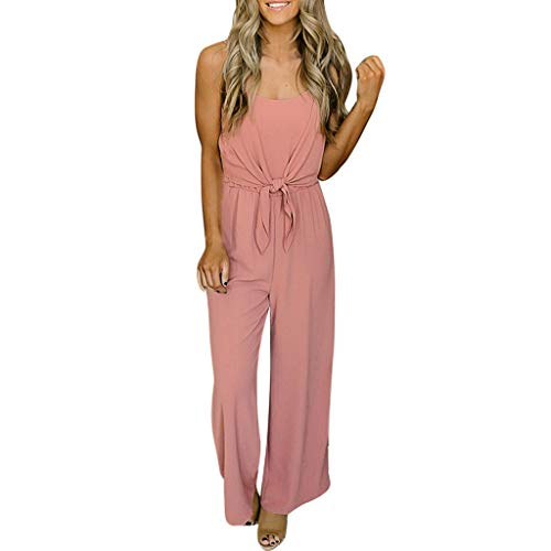Nadition Casual Playsuit ❤️️ Womens Bandage Front Sleeveless Jumpsuit Spaghetti Strap Solid Bodysuit Cami Playsuit Pink