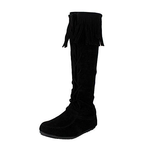 West Blvd Havana Fringe Boots, Black Suede, 7.5