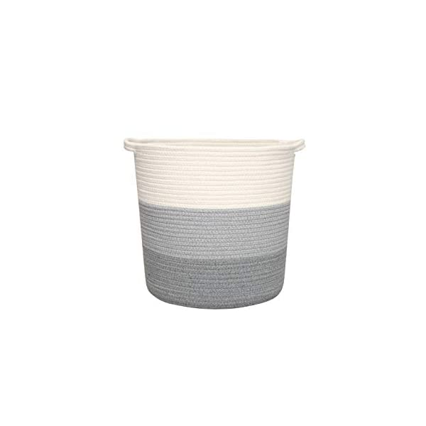 yukimocoo Cotton Rope Basket with Handles, Laundry Basket, Basket for Clothes, Plant,Toy Storage, Woven Rope Basket, Decorative Blanket Basket, Environmental Protection- Dark Grey,Grey& White