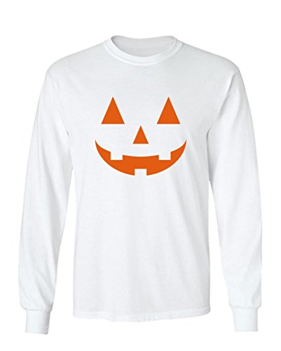 [Halloween Costume Carved out Pumpkin Graphic Design Long Sleeved Crew Neck T-Shirt - Large (White)] (Cheap Offensive Halloween Costume Ideas)