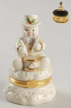 Lenox Treasures -Drumming Up Surprises Snowman Treasure Box