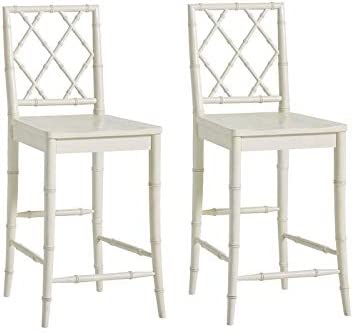 """Universal Furniture Bamboo Carved X-Back 29"""" Bar Stool with Contoured Wood Seat in White (Set of 2)"""