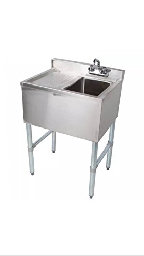 Stainless Steel Single One Compartment Bar Sink with Left Drainboard 19 x 24 by L and J