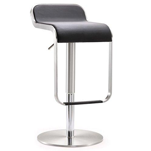 Tov Furniture Napoli Stainless Steel Adjustable Barstool, Black
