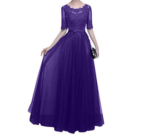 Regency Damen Mutterkleider Blau Langarm Charmant Ballkleider Abendkleider Spitze Hundkragen Brautmutterkleider mit Navy PRRndq