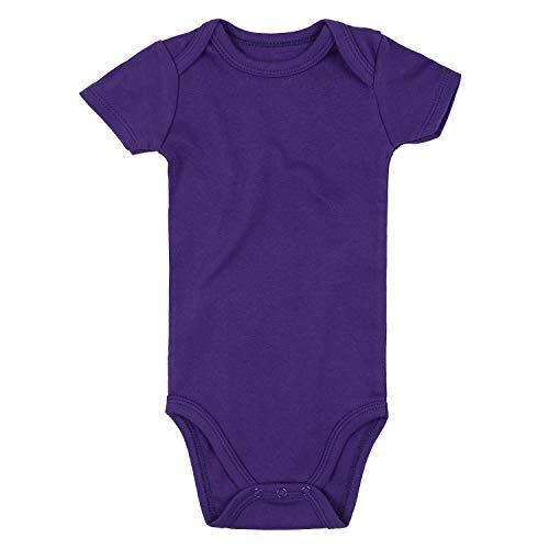 ROMPERINBOX Unisex Solid Baby Bodysuit 0-24 Months (18-24 Months, Purple Short Sleeve)