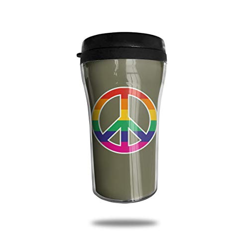 Lodve Hvst Rainbow Colors Peace Sign 8.45oz Coffee Mug Birthday Gifts Insulated Water Bottle ()