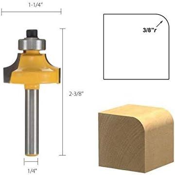 """ZZB-ZT, 4pcs / Set 1/4 Zoll Schaft Carbide Rund Edging Fräser 6,35 mm Schaftradius 1/8"""" 1/4"""" 1/2"""" 3/8"""" Holzbearbeitung Fräser (Size : NO3)"""