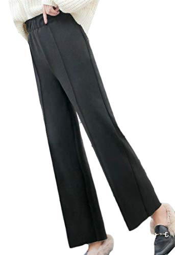(Joe Wenko Womens Stylish Wool Blend Straight Ankle Length Trousers High Waisted Pants Dark Grey L)