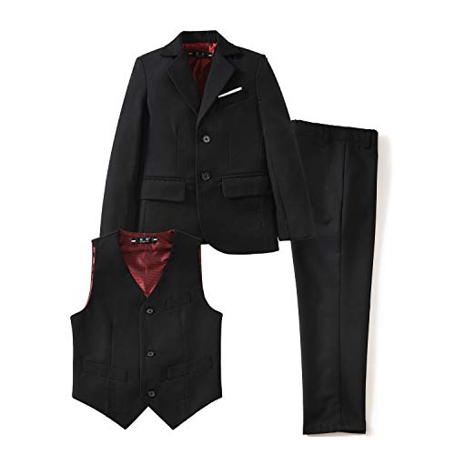 YuanLu Toddler Dresswear Boys' Suits Set with Coat Vest and Pants for Weddings Black Size 3T