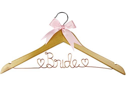 Bride to Be Wedding Dress Hanger, Hanger with Bride Wire for Wedding Gown in Anatto, White Wood, and Natural Wood, Perfect Gift for Bride on her wedding or Bridal Shower! (Natural Wood Rose Gold Wire)
