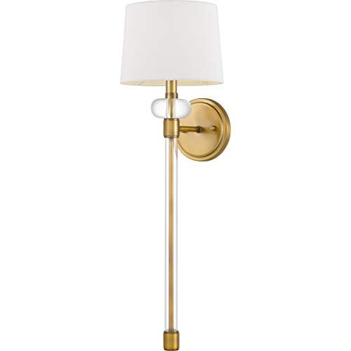 Quoizel QW4071WS Barbour Fabric Wall Sconce Lighting, 1-Light, 60 Watt, Weathered Brass (27