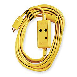 [Hubbell GFP25C15A Industrial/Commercial Grade GFCI Line Cord, Auto Set, 15 amp, 120V, 25'] (Gfci Line Cord)