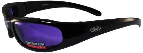 Global Vision Chicago Padded Riding Glasses (Black Frame/Purple Lens)