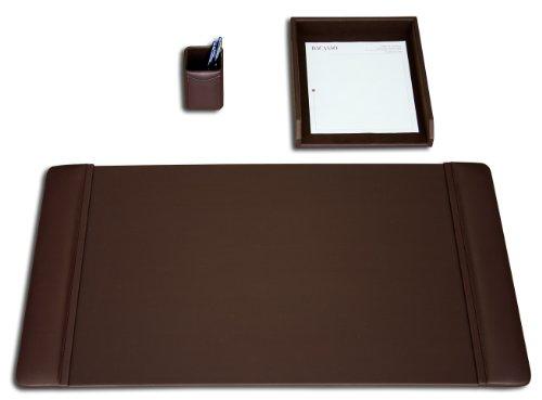 Dacasso Leather Desk Set, 3-Piece, Chocolate - Accessory Desk 3 Piece Leather