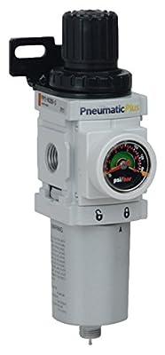 "PneumaticPlus PPP2-N02BG-Q2 Miniature Compressed Air Filter Regulator Piggyback Combo 1/4"" NPT - 5 Micron, Metal Bowl, Manual Drain, Bracket, Embedded Gauge"