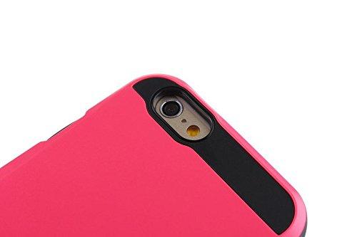 iPhone 6 hülle,Lantier [Anti Scratch] [Heavy Duty] [Karten-Tasche] Dual Layer Hybrid Rubber Bumper Schutz Card Case Cover für Apple iPhone 6 4.7 Zoll & iPhone 6s 4,7-Zoll-Rosa