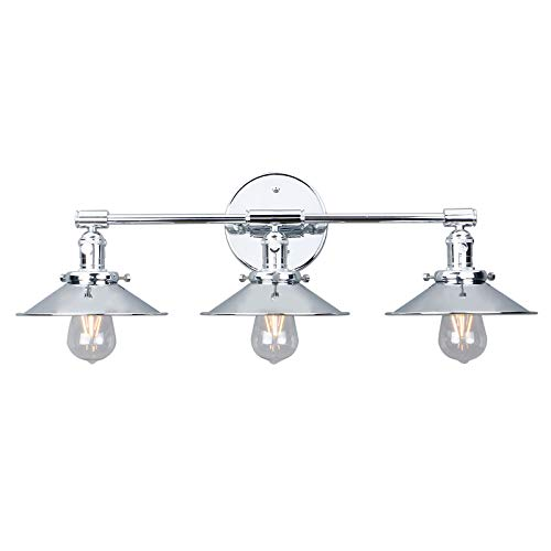 Phansthy 3 Lights Vanity Light Chrome Finished 3-Light Wall Sconce Lighting with 7.87 Inch Metal Flared Lamp Shade (Chrome Finish)