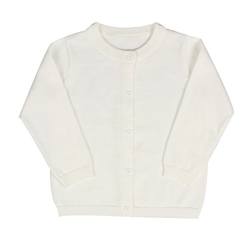 Baby Boys Girls Button-Down Cardigan Toddler Cotton Knit Sweater White (Cotton Girls Sweater)