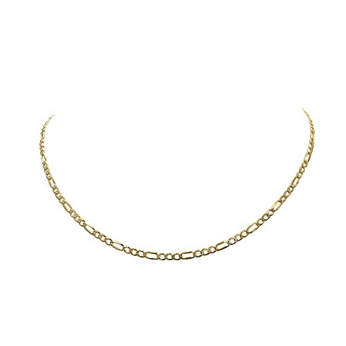 2mm Figaro Link Chain (Sterling Silver Figaro Chain Necklace Gold Plated - Italian Made Diamond Cut - 2.8mm x 26 Inches)