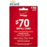 Verizon $70 to Go or Monthly Prepaid Refill Card (mail delivery)