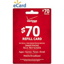 Verizon $70 to Go or Monthly Prepaid Refill Card (mail delivery) by Verizon