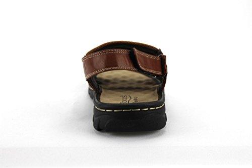Rocus Mens Jf5-45 Comfort Open Toe Sandali Scarpe Tan