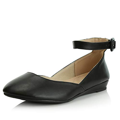DailyShoes Women's Casual Adjustable Ankle Strap Buckle Pointed Toe Low Wedge Flat Shoes, Black PU, 7 B(M) US ()