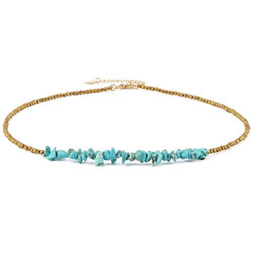 Turquoise Bar Necklace Choker Gold Hematite Beaded Tiny Dainty Minimalist Jewelry for Women 15