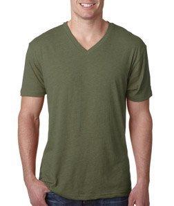 Next Level Apparel 6040 Mens Tri-Blend V-Neck Tee - Military Green, -