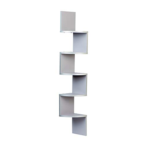 Danya B. XF11035GR Large Decorative 5-Tier Corner Floating Wall Mount Display Shelving Unit - Grey
