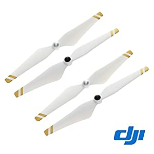 2 Pairs Genuine DJI Phantom 3 E305 9450 Props Self-tightening Propellers (Composite Hub, White with Gold Stripes) For Phantom 3 Professional, Advanced, Phantom 2 series, Flame Wheel series platforms and the E310/E305/E300 tuned propulsion systems White with Gold Stripes 31duhLH9dHL
