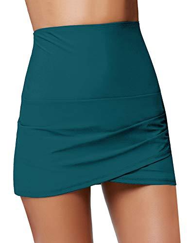 Luyeess Women's High Waisted Tulip Hem Swim Skirt Bikini Tankini Swimsuit Swimwear Bathing Suit Bottom with Briefs Green Color, Size S(US 4-6) - Hem Skirt Set